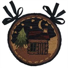 The Moonlit Log Cabin Hooked Chairpad from Park Designs measures 14 Diameter.