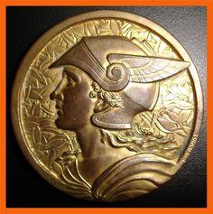 Art Deco/ Marianne with Winged Helmet/ Paris 1955/ Bonze Medal by E. Fraisse