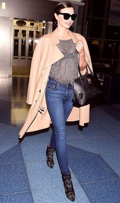 miranda kerrs long coat is on our list of chic airport wear
