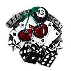 Buckle Gürtelschnalle Lady Luck 13 Poker Rockabilly Tattoo Gamble Hot Rod VW V8   Kleidung & Accessoires, Herren-Accessoires, Gürtelschnallen   eBay!
