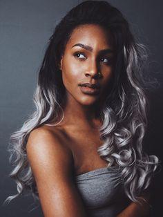 silver hair color for dark skin Grey Hair On Dark Skin, Hair Color For Brown Skin, Grey Ombre Hair, Colors For Dark Skin, Silver Ombre, Dark Skin Girls, Hair Color Dark, Cool Hair Color, Hair Colors