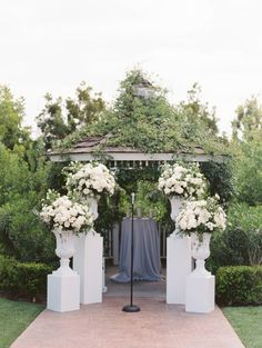 Romantic Grey California Wedding Part I Gorgeous wedding ceremony idea; Altar Flowers, Wedding Ceremony Flowers, Wedding Bouquets, Wedding Ceremonies, Wedding Dress, Wedding Arrangements, Wedding Centerpieces, Flower Arrangements, Tall Centerpiece