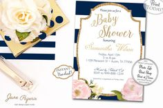 INSTANT DOWNLOAD Floral Navy White Gold and Peony by JanePaperie