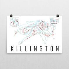 Killington Resort Ski Map Art Killington Vermont Ski