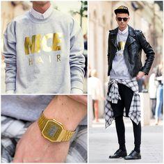 H&M Leather Biker Jacket, Chloé Gold Nice Hair Sweater, Swag4 U Cap, Vintage Checked Shirt, Zara Leggings With Short, Casio Gold Watch