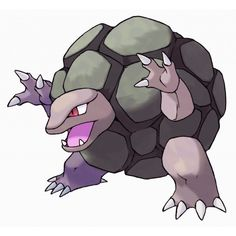 Golem - 076 - It tumbles down mountains, leaving grooves from peak to base. Stay clear of these grooves. Even dynamite can't harm its hard, boulder-like body. It sheds its hide just once a year.  @PokeMasters