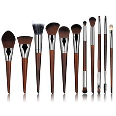 11 Pcs/Set Professional New Rosewood Makeup Cosmetic Brushes Tools Set For Eye Shadow Powder Foundation Cosmetic Brushes