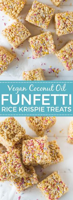Funfetti Rice Krispie Treats (Vegan) Cute and delicious treats made with vegan marshmallows and rice krispies! Vegan Rice Crispy Treats, Rice Krispy Treats Recipe, Vegan Treats, Vegan Snacks, Healthy Treats, Sugar Free Cereal, Reis Krispies, Cereal Treats, Dinner