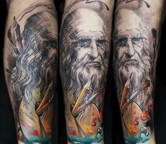 Leonardo da Vinci tattoo by Dmitriy Samohin