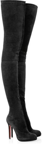 LOUBOUTIN Louise Xi 120 Stretchsuede Overtheknee Boots - #LadyLuxuryDesigns