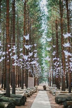 paper cranes decoration ideas for forest wedding