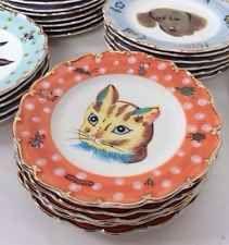 Vtg Antique Nathalie Lete Tabby Cat Plate Dish Shabby Chic Farmhouse Tea Party