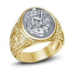 Men's .925 Silver Yellow Gold Gp RD Sim Diamond Astrology Libra Zodiac Sign Ring…