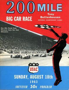 1963 Jim Clark Lotus Only Other Oval Win Milwaukee 200 Mile Race Program