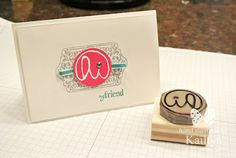 Hi carved by Kaitlyn Zumbach...super cute idea, sized to fit/coordinate with a retail Stampin' Up! stamp set!