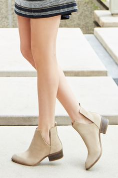 Neutral suede booties with flattering, V-split sides. Such a versatile pair for spring!