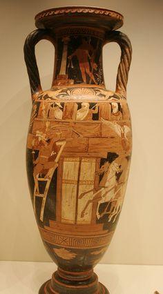 Red Figured Neck Amphora, Terracotta, Caivano Painter, Greek made in Campania, 340 BC, Getty Villa, Malibu, Dec. 2012