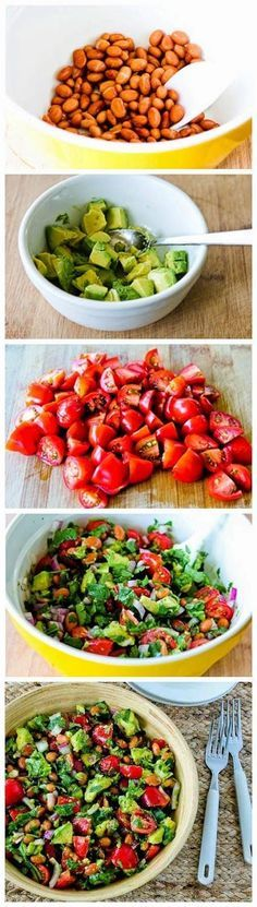 Pinto Bean Salad with Avocado, Tomatoes, Red Onion, and Cilantro WIC items in this recipe: lettuce, pinto beans, avocado, red onion, and tomatoes