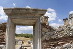 "A restored stone doorway leading into the fifth-century AD ""Basilica B"" in Philippi."