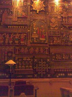 Detail of the wall mural in Raj Palace Hotel, India