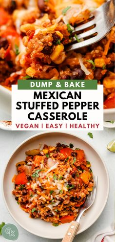 This healthy vegan Mexican Stuffed Pepper Casserole uses pantry staple ingredients like quinoa, canned beans and corn and turns them into a fuss free dump & bake meal! Vegan Mexican Recipes, Vegan Dinner Recipes, Vegan Dinners, Whole Food Recipes, Vegetarian Recipes, Cooking Recipes, Healthy Recipes, Vegan Quinoa Recipes, Mexican Meals
