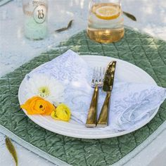 """Bella Notte Tabletop Linen Quilted Placemat  in """"Seaglass"""" $63.00"""