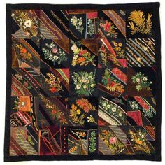 I ❤ crazy quilting embroidery . Crazy Quilt- Maker unknown, Place made unknown, Circa x Dodge County Historical Society/May Museum, Old Quilts, Antique Quilts, Vintage Quilts, Primitive Quilts, Crazy Quilt Stitches, Crazy Quilt Blocks, Crazy Quilting, Embroidered Quilts, Crazy Patchwork