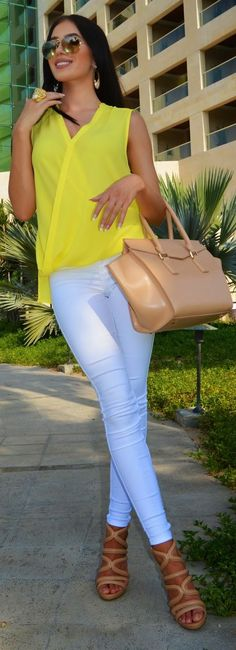 Yellow Top Casual Chic Style by Laura Badura Fashion