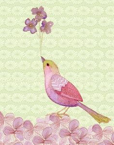 sweet bird and flower #painting art #painting| http://bedroomphotosgaetano.blogspot.com