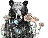 A Bear in Our Garden - Bear Art Print by Corella Design