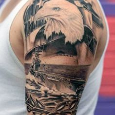 Navy Ship With Eagle Half Sleeve Guys Patriotic Tattoo Ideas