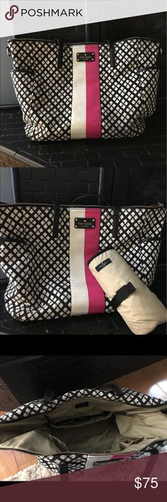 Kate Spade diaper bag Authentic Kate spade diaper bag in good condition. Black with pink and off white stripe in front. Some minor wear and tear to straps. kate spade Bags Baby Bags