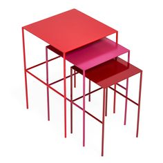 These abcdna spectrum red steel nesting tables are handmade in North Carolina. The concept is a playful look at color theory and the power of color to transform emotions - Shop Talk: ABC Carpet & Home