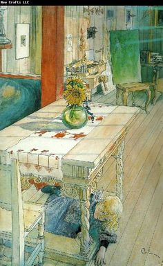 "Painting ""Hide and seek"" (Kurragömma) by Carl Larsson. In the picture the home of the artist."