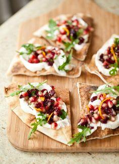 Ricotta flatbread with pomegranate salsa