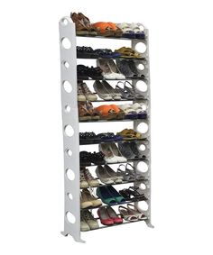Love this White & Silver 30-Pair Shoe Rack by home basics on #zulily! #zulilyfinds