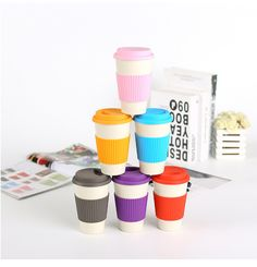 Eco-Friendly Bamboo Fiber Coffee Mug Milk Mug With Lid Portable Beer Mugs Tea Cups Milk Cup For Office Home Drinkwares Cute Coffee Mugs, Coffee Cups, Tea Cups, Plastic Free July, No Plastic, Bamboo Shop, Dark Home Decor, No Waste, Milk Cup