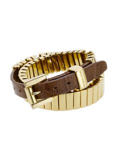 "Michael Kors Double-Wrap Belt Bracelet, Golden  Golden brass bars and brown crocodile-embossed leather.  17 3/8""L, can be wrapped twice around most wrists.  Buckled adjustable fit.  1/2"" wide.  Michael Kors logo-engraved bar.  Store Style Number: MKJ1070"