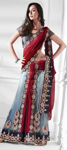 66375, Lehngas Style Sarees, Net, Faux Georgette, Lace, Resham, Blue, Red and Maroon Color Family