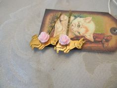 Vintage Brass Rabbit Light Pink Rose Hair Bobby Pin Set | RosesHeirlooms - Jewelry on ArtFire