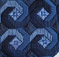 Bordado recto en tonos azules