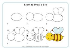 Learn to Draw a Bee * včielka včela Drawing Lessons For Kids, Art Drawings For Kids, Doodle Drawings, Doodle Art, Art Lessons, Art For Kids, Crafts For Kids, Easy Animal Drawings, Easy Drawings