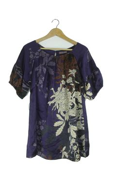 1c4b5e9cebf72 Marks  amp  Spencer purple  amp  brown floral silky feel blouse top Size 18