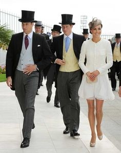 Royal top hats on the Princes, William and Harry, with Kate
