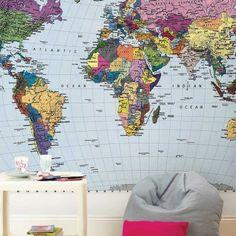 Map wall nurseries kid bedrooms pinterest environmental world map wall mural gumiabroncs Gallery