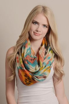 Bright Ikat Print Infinity Scarf - Orange