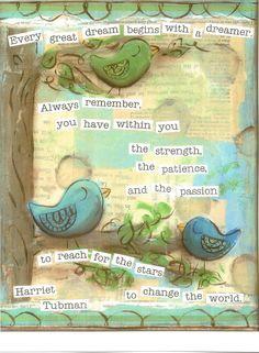 Inspirational Art, Reach for the Stars Birds in blue, Harriet Tubman, 8 x 10 Fine Art Print via Etsy