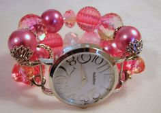 Hot Pink Chunky Beaded Watch Band and Face  by BeadsnTime on Etsy, $30.00