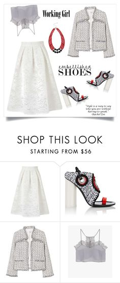 """Magic Slippers: Embellished Shoes"" by alinepinkskirt ❤ liked on Polyvore featuring Miss Selfridge, Proenza Schouler, MANGO and M&Co"