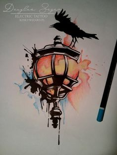 #watercolour #tattoo #lantern #tatuaż #latarnia #ptak #bird #kinkywizard